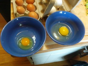 the smaller darker yolk is ours